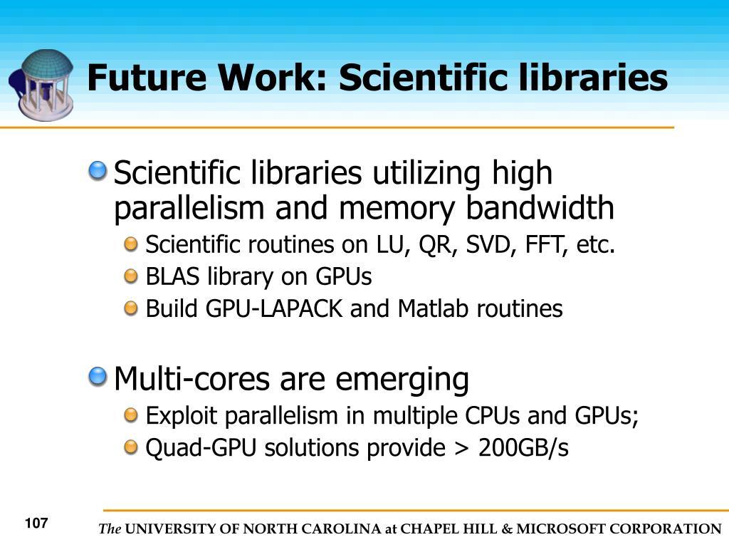 Future Work: Scientific libraries