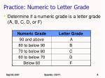 practice numeric to letter grade