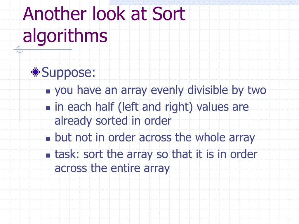 Another look at Sort algorithms