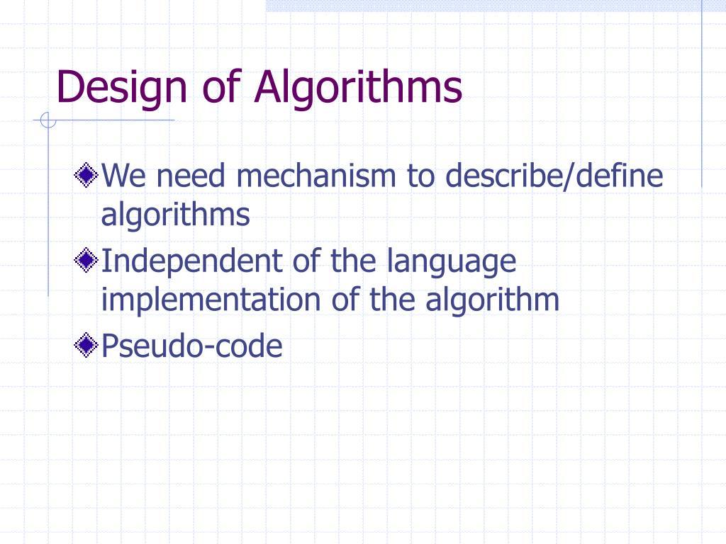 Design of Algorithms