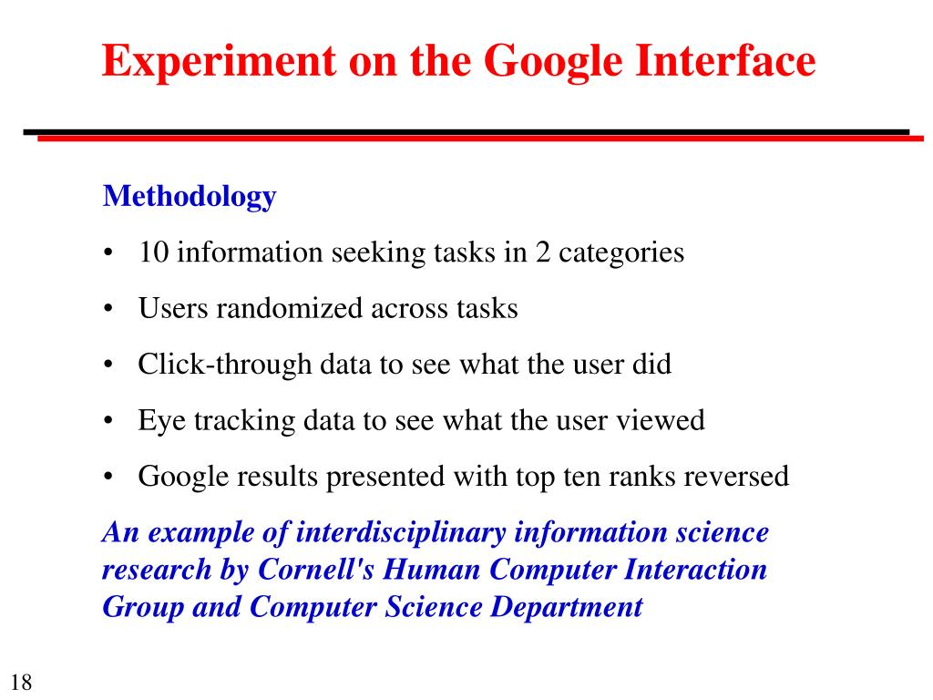 Experiment on the Google Interface