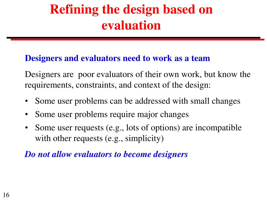 Refining the design based on evaluation