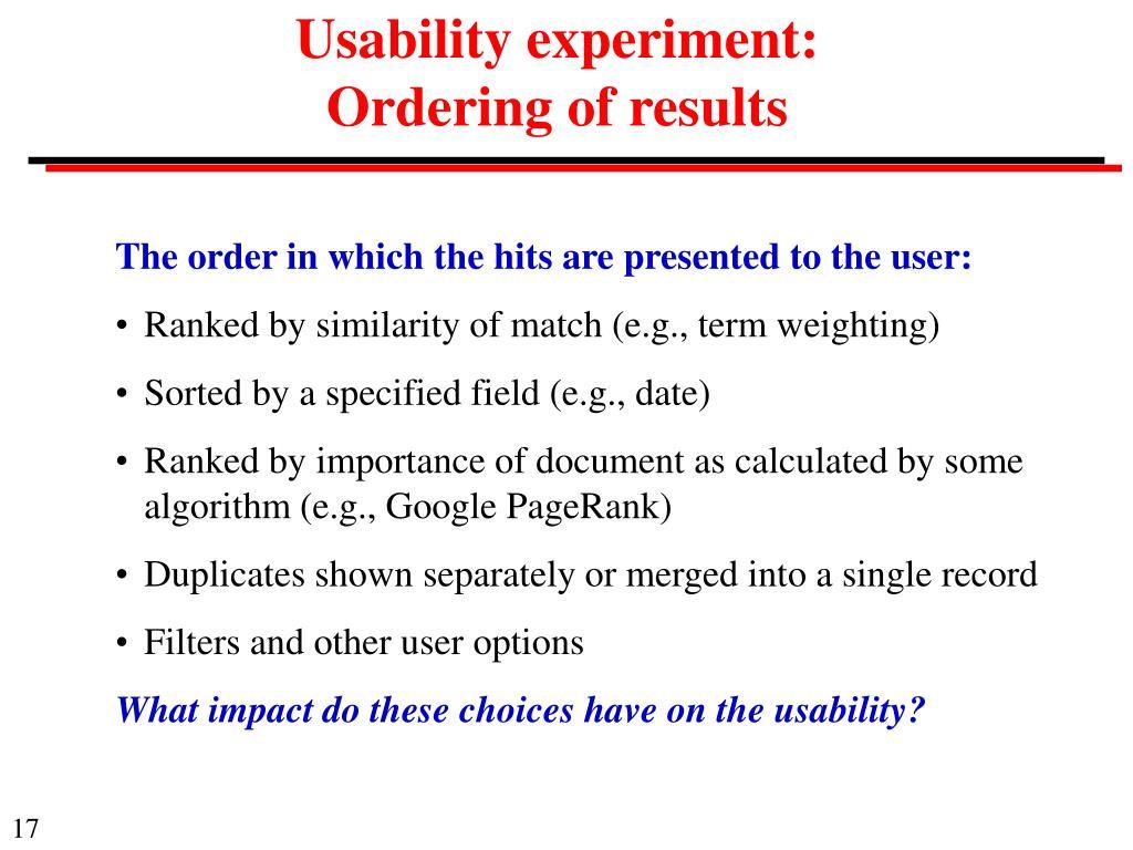 Usability experiment: