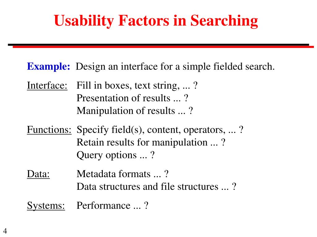 Usability Factors in Searching