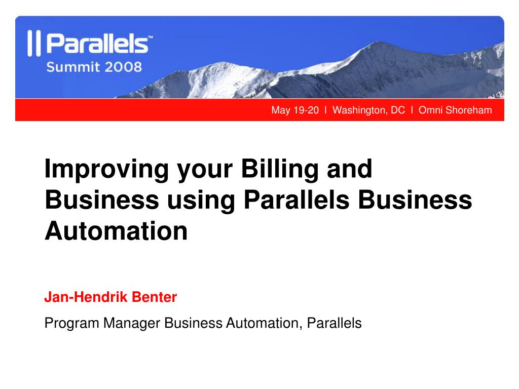Improving your Billing and Business using Parallels Business Automation