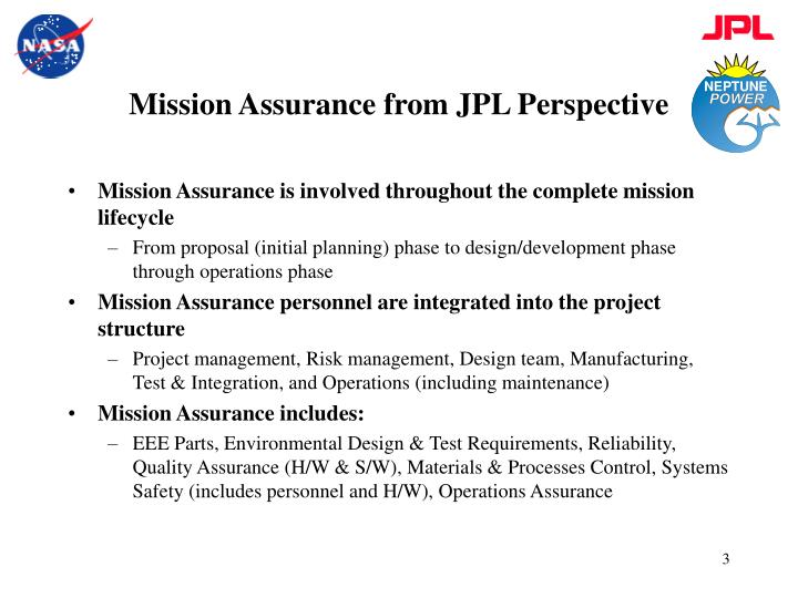 Mission assurance from jpl perspective