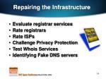 repairing the infrastructure