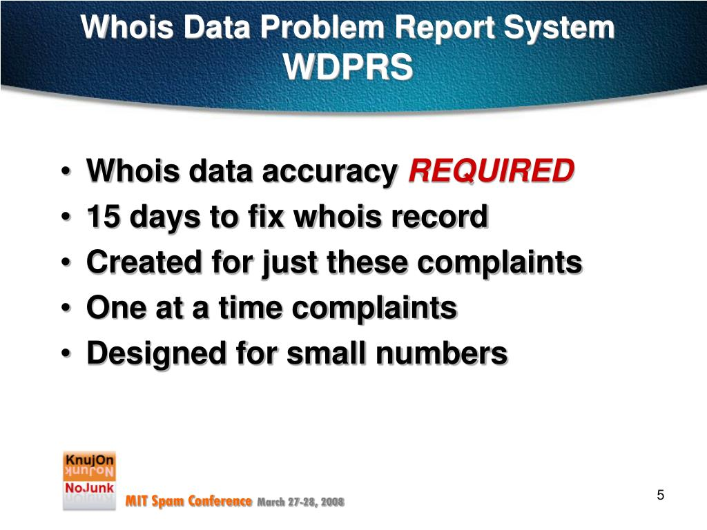 Whois Data Problem Report System