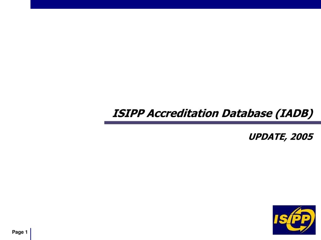 ISIPP Accreditation Database (IADB)