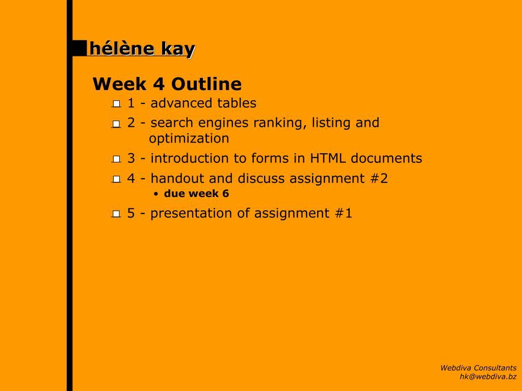 Week 4 Outline