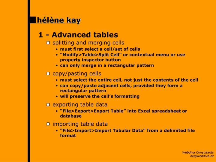 1 -Advanced tables