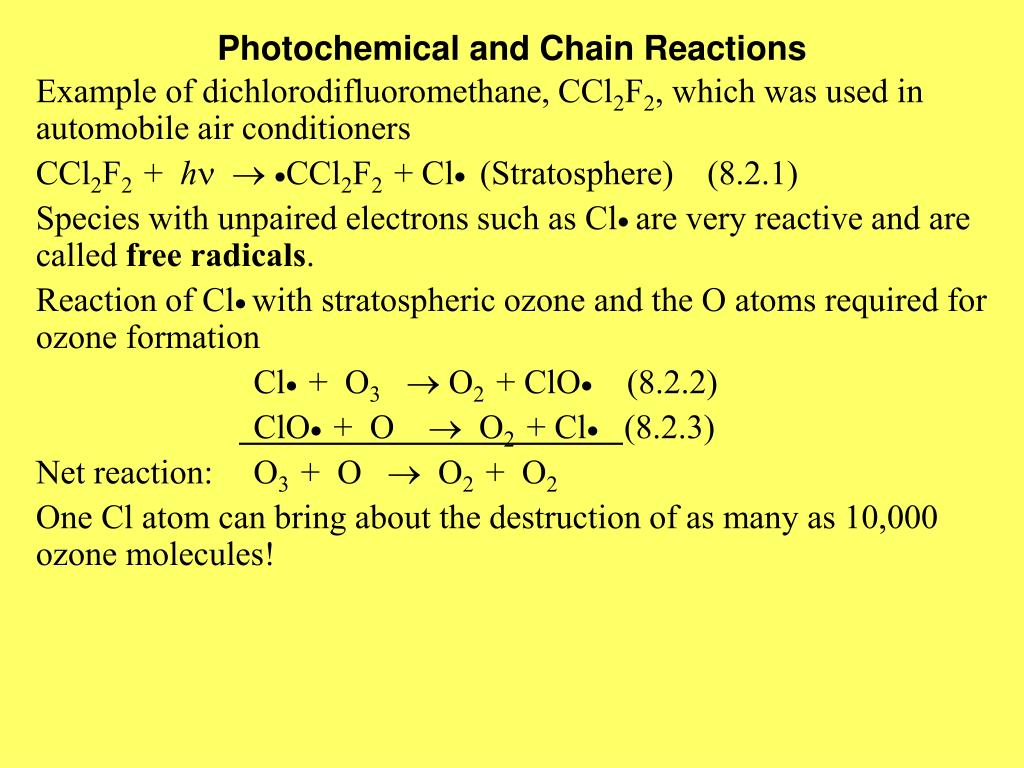 Photochemical and Chain Reactions