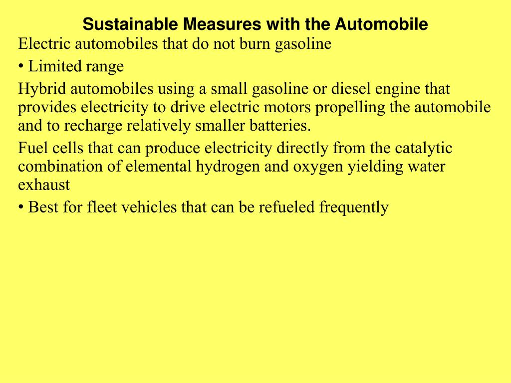 Sustainable Measures with the Automobile