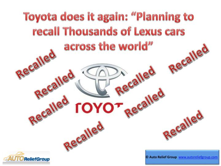 "Toyota does it again: ""Planning to recall"