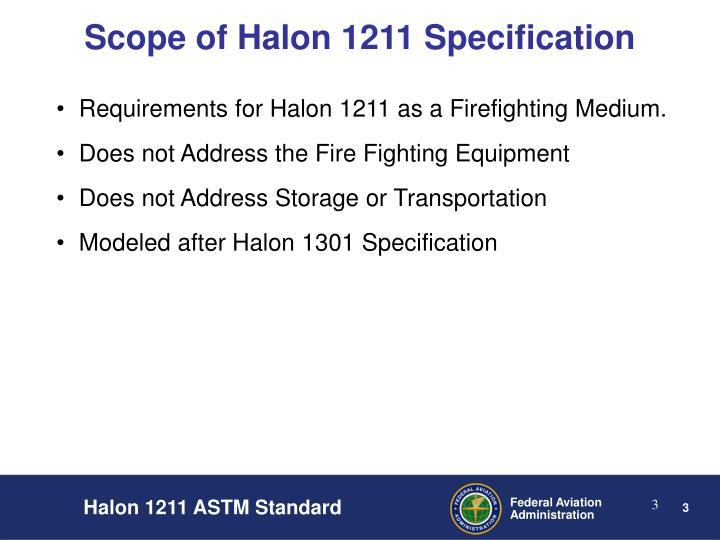Scope of halon 1211 specification