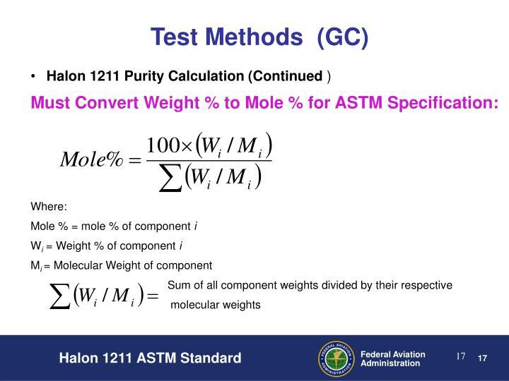 Test Methods  (GC)