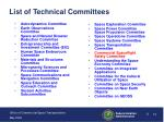 list of technical committees