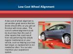 low cost wheel alignment