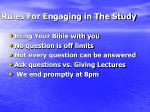 rules for engaging in the study