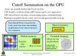 cutoff summation on the gpu