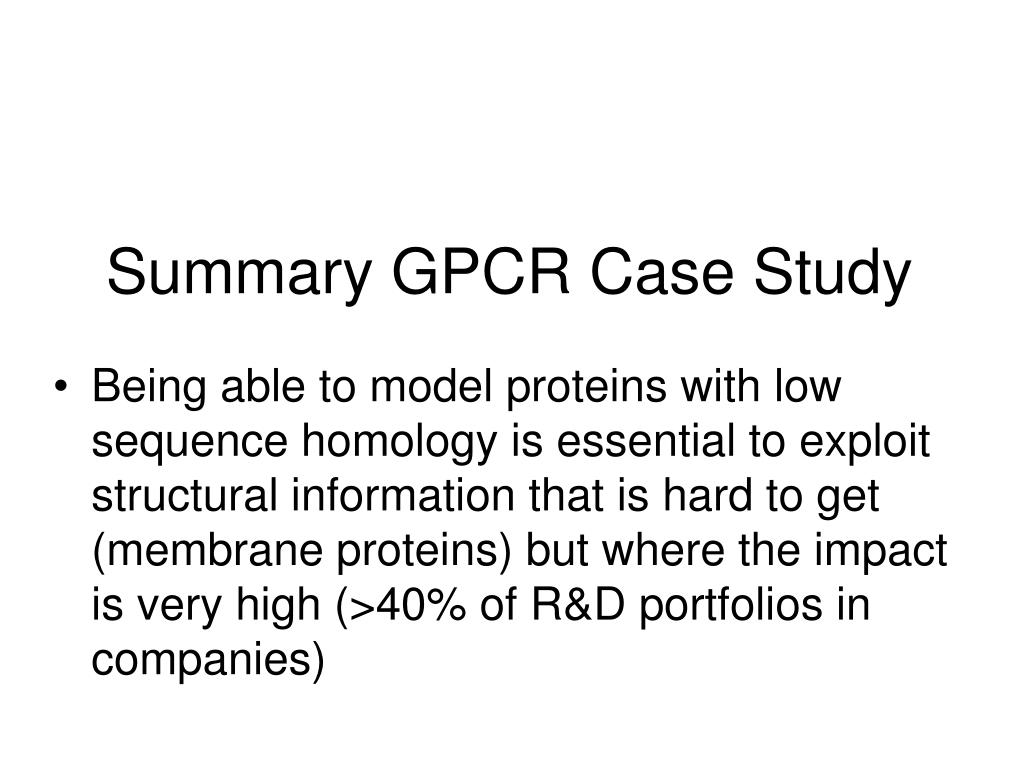 Summary GPCR Case Study