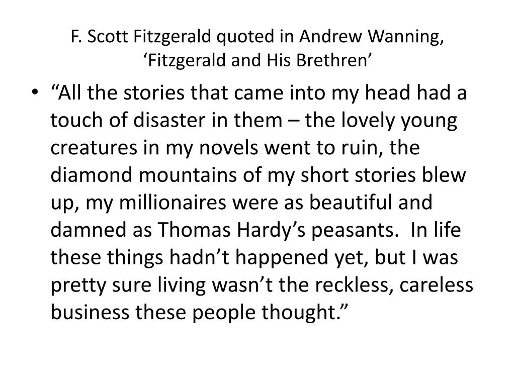 F. Scott Fitzgerald quoted in