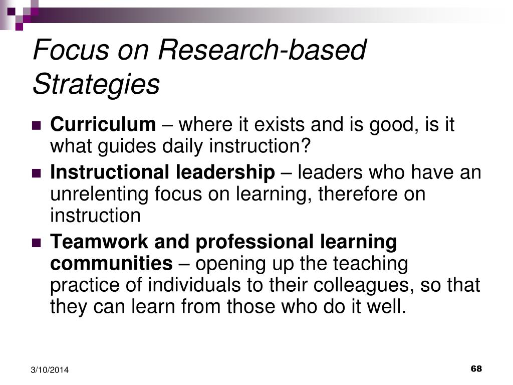 Focus on Research-based Strategies