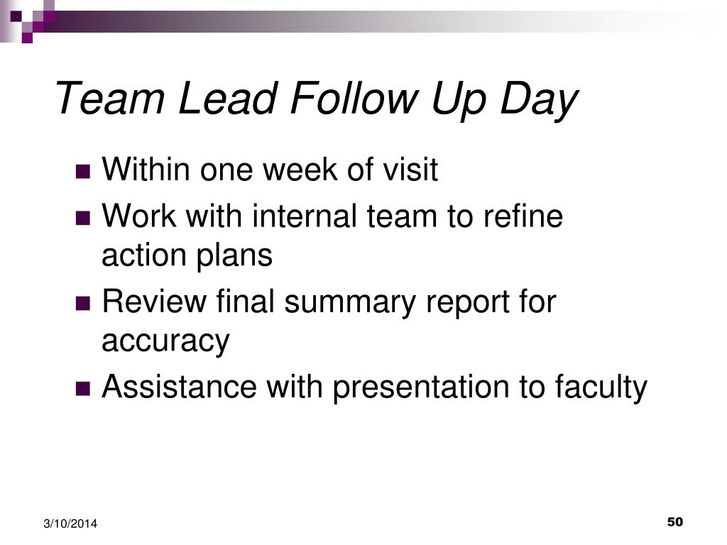 Team Lead Follow Up Day
