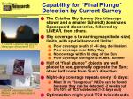 capability for final plunge detection by current survey