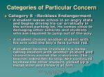 categories of particular concern18