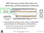 gpu traversal of atom type basis set shell type and wavefunction coefficients