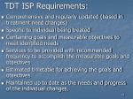 tdt isp requirements