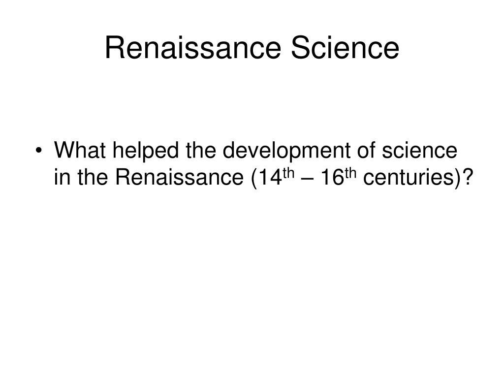 renaissance science l.