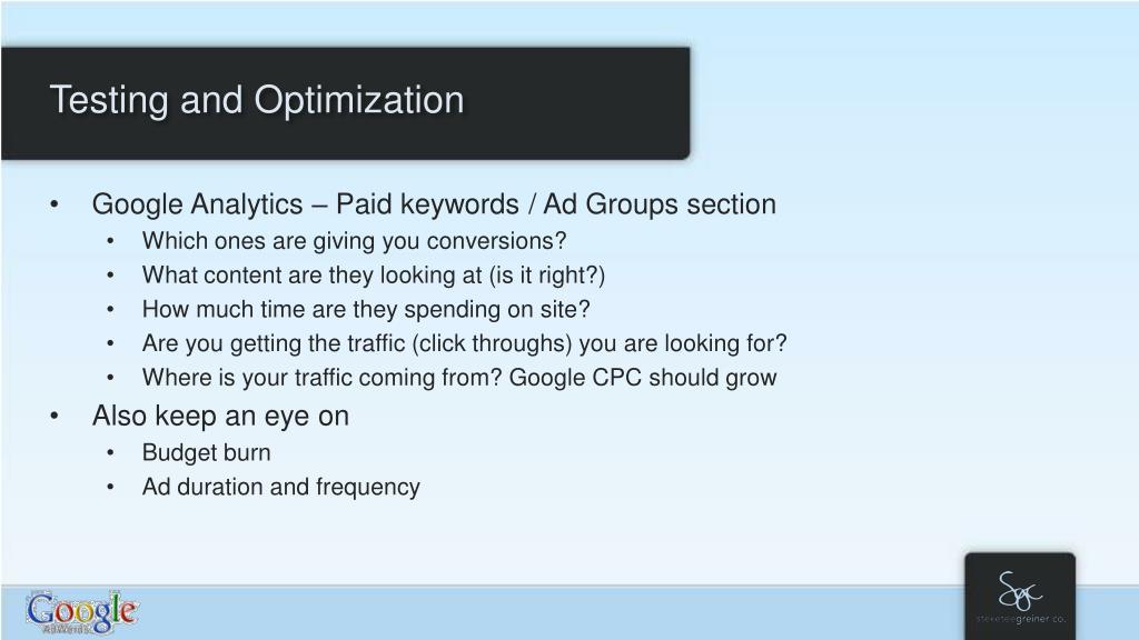 Testing and Optimization