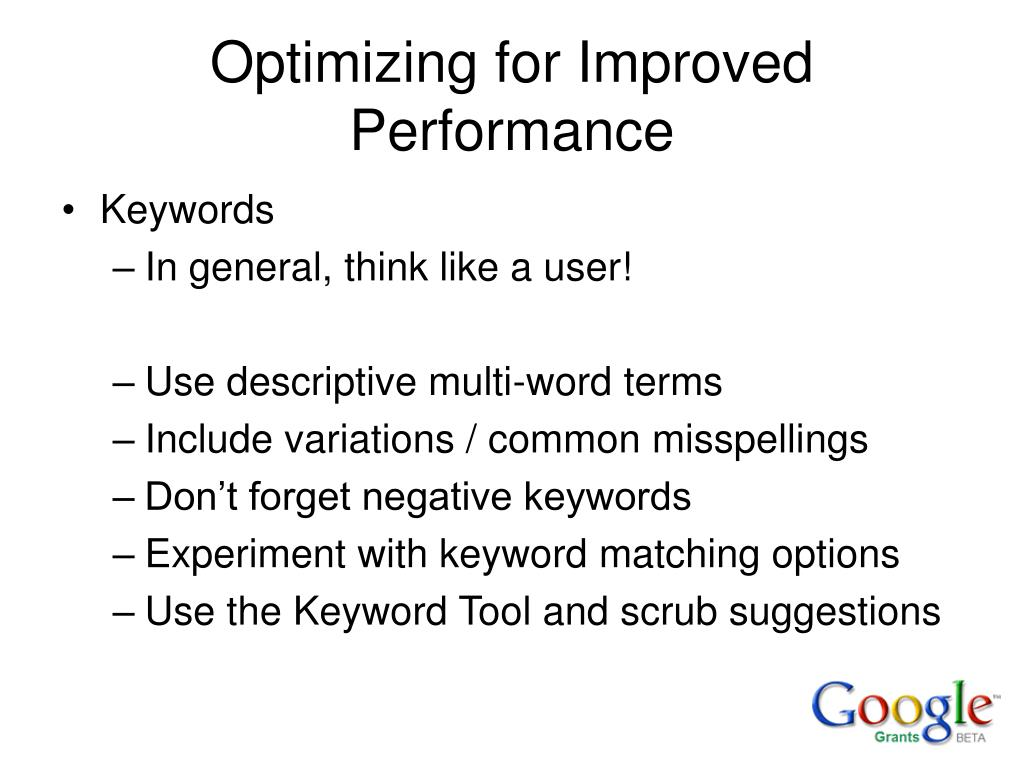 Optimizing for Improved Performance