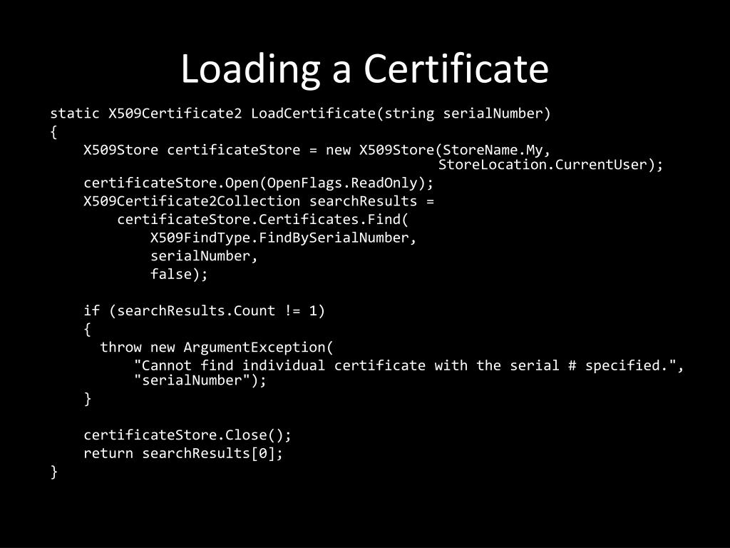 Loading a Certificate