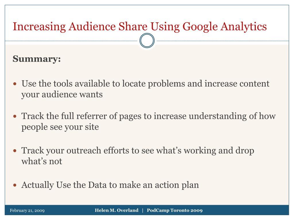 Increasing Audience Share Using Google Analytics
