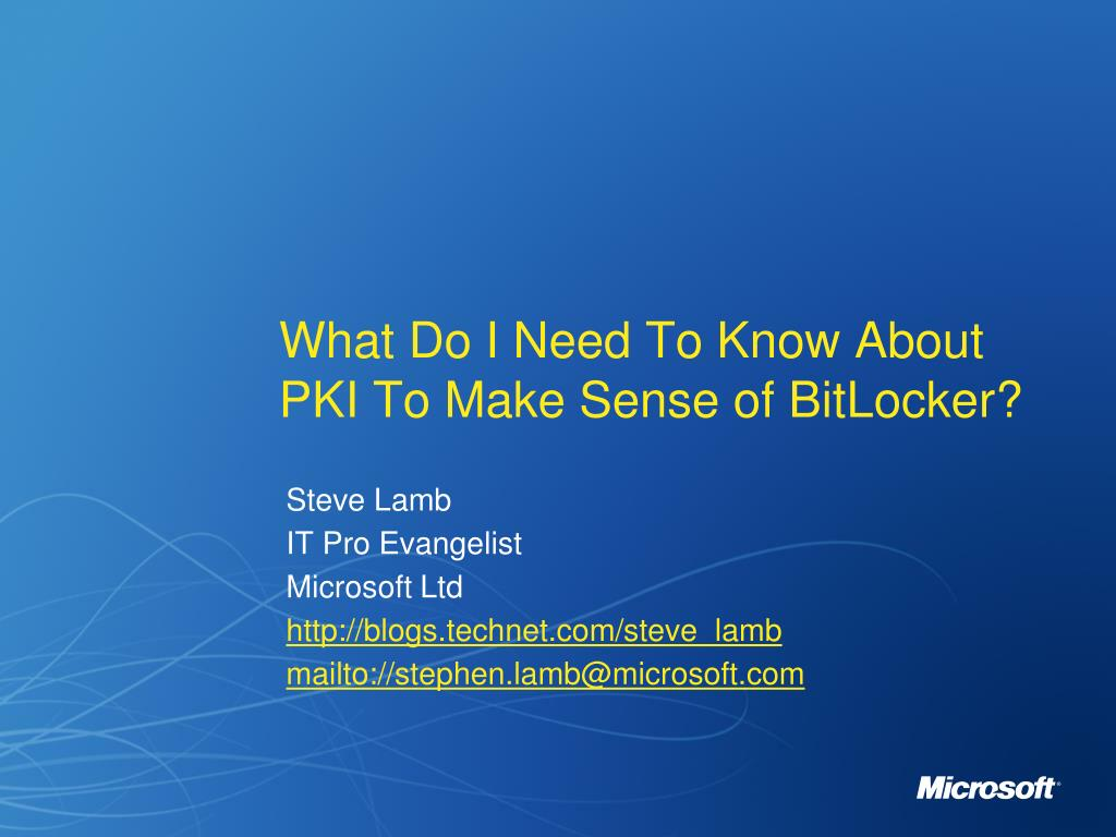 what do i need to know about pki to make sense of bitlocker l.