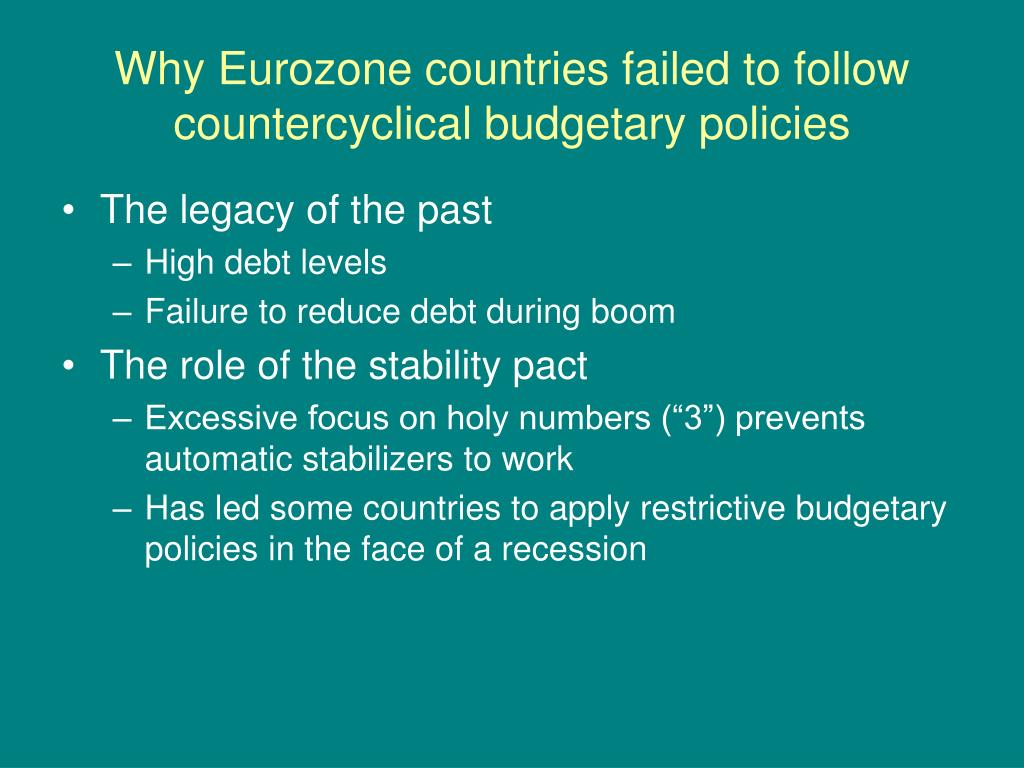 Why Eurozone countries failed to follow countercyclical budgetary policies