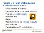 proper on page optimization in order of importance for 2010
