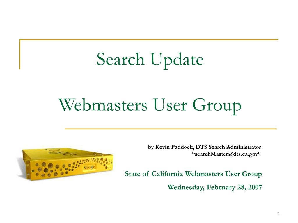search update webmasters user group