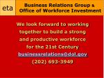 business relations group office of workforce investment