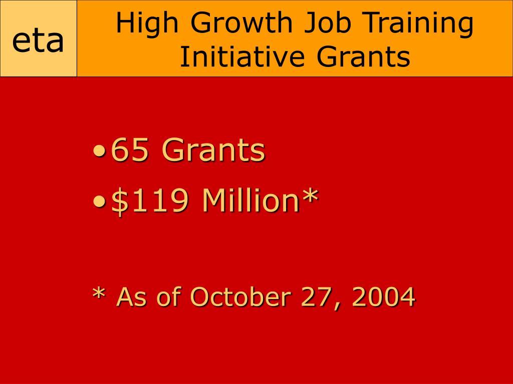 High Growth Job Training Initiative Grants
