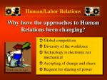 why have the approaches to human relations been changing