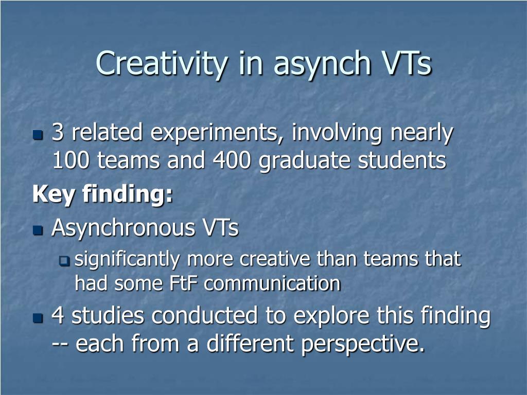 Creativity in asynch VTs