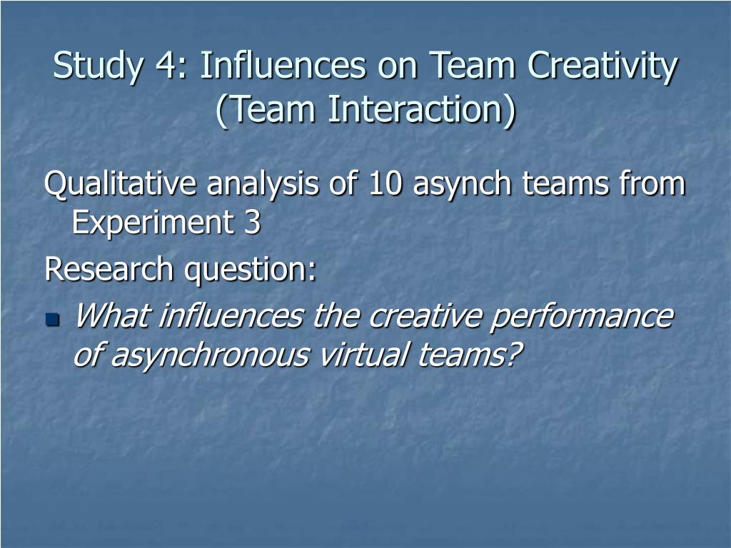Study 4: Influences on Team Creativity (Team Interaction)