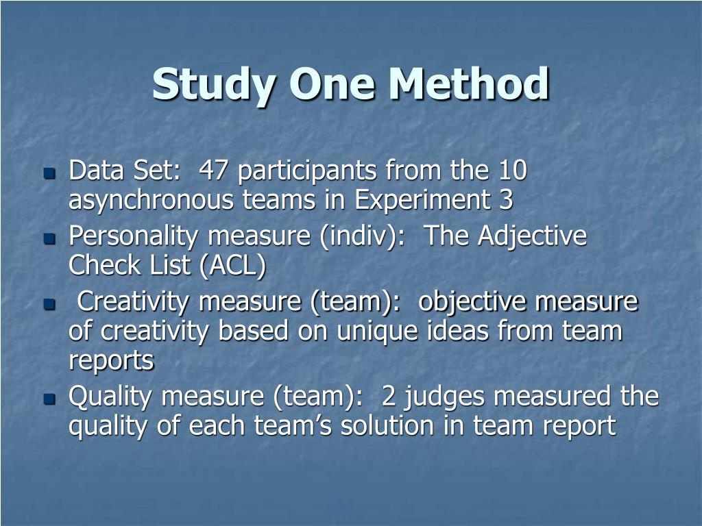 Study One Method