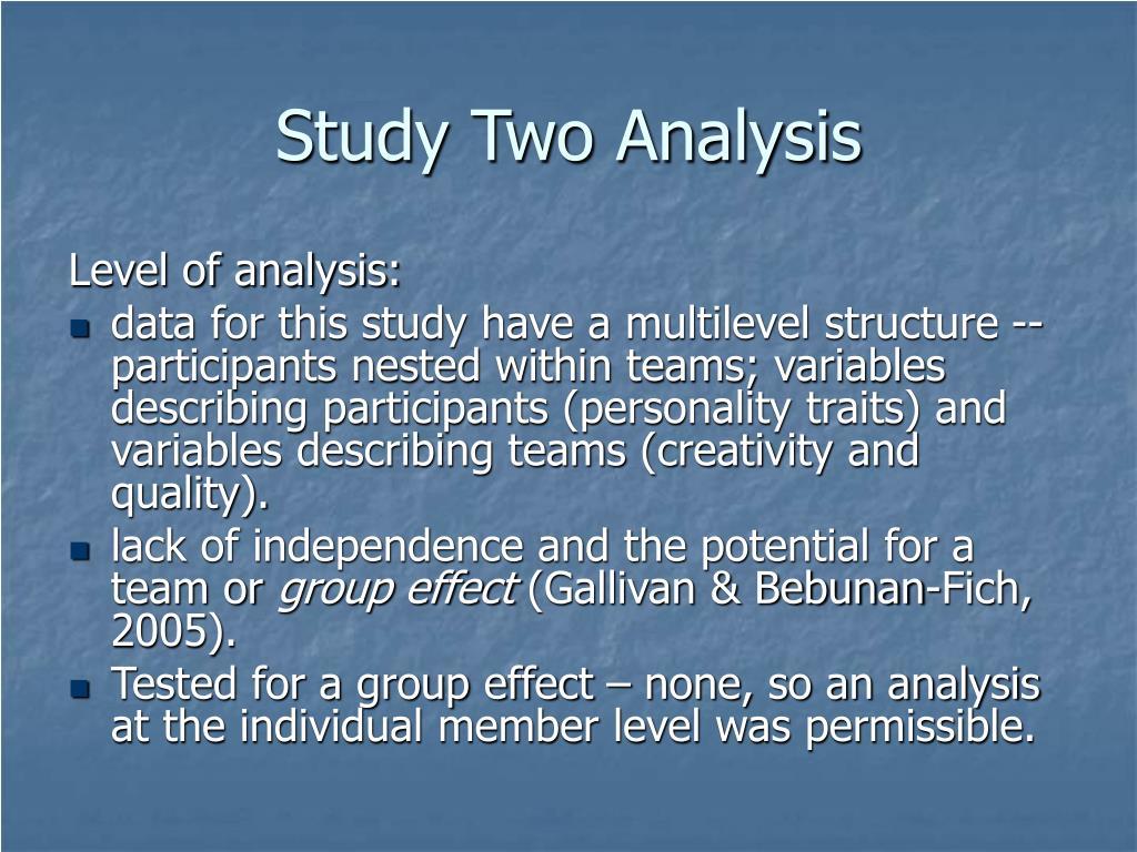 Study Two Analysis