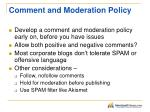 comment and moderation policy