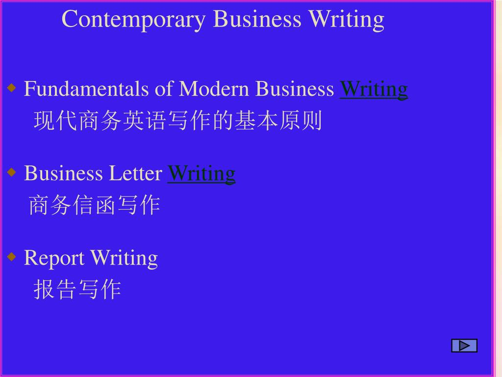 Contemporary Business Writing